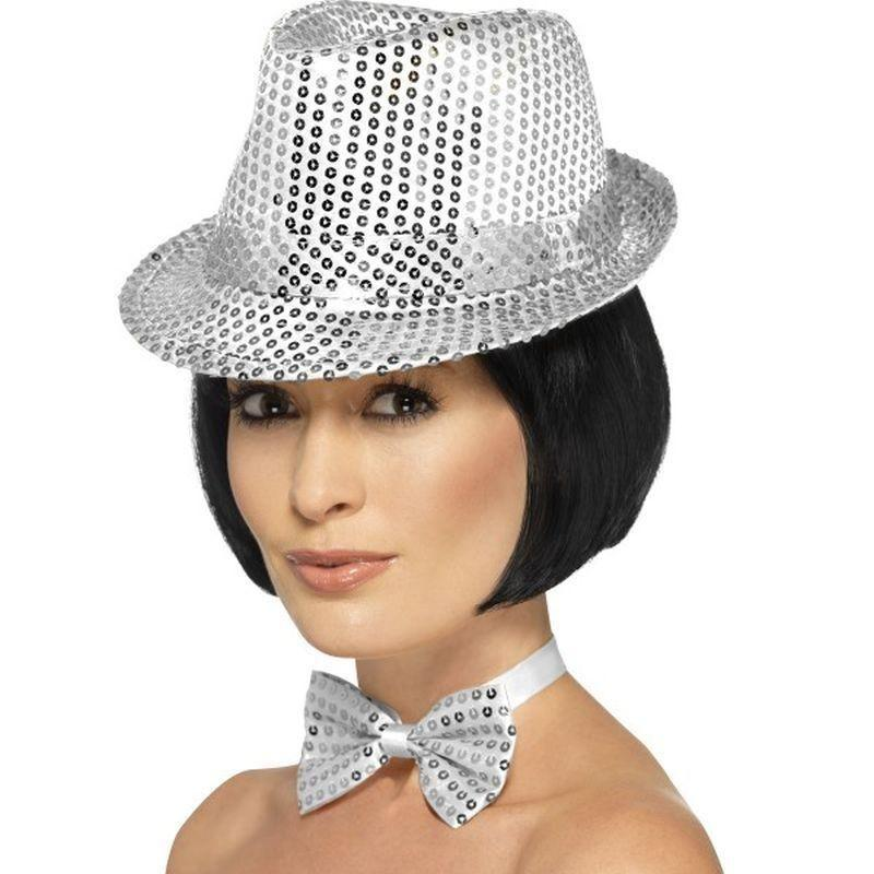 Sequin Trilby Hat Adult Silver - Funnyside Fancy Dress Mad Fancy Dress