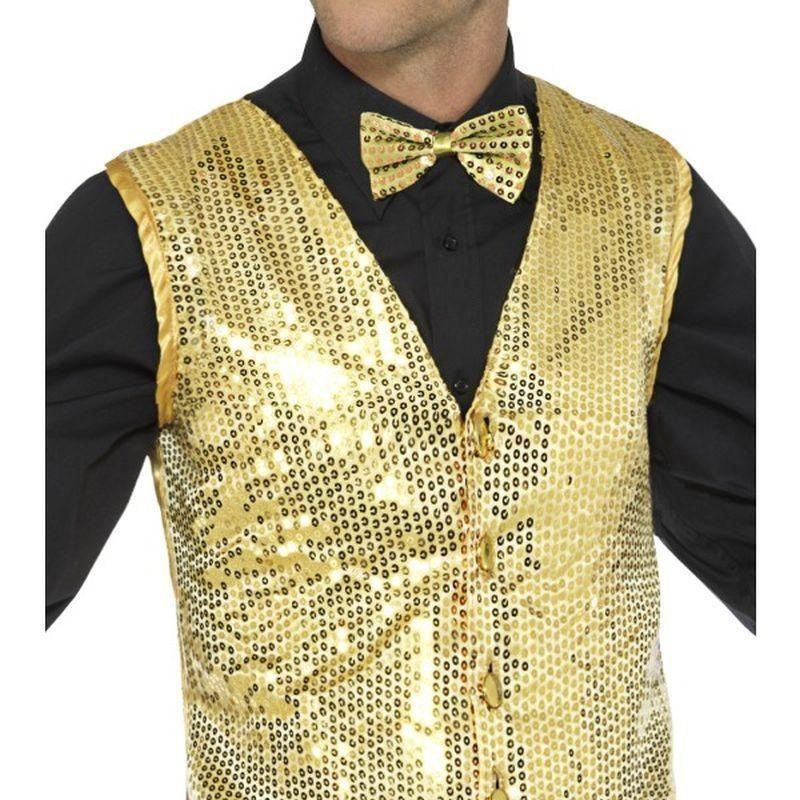 Sequin Waistcoat Adult Gold - Party & Carnival Mad Fancy Dress