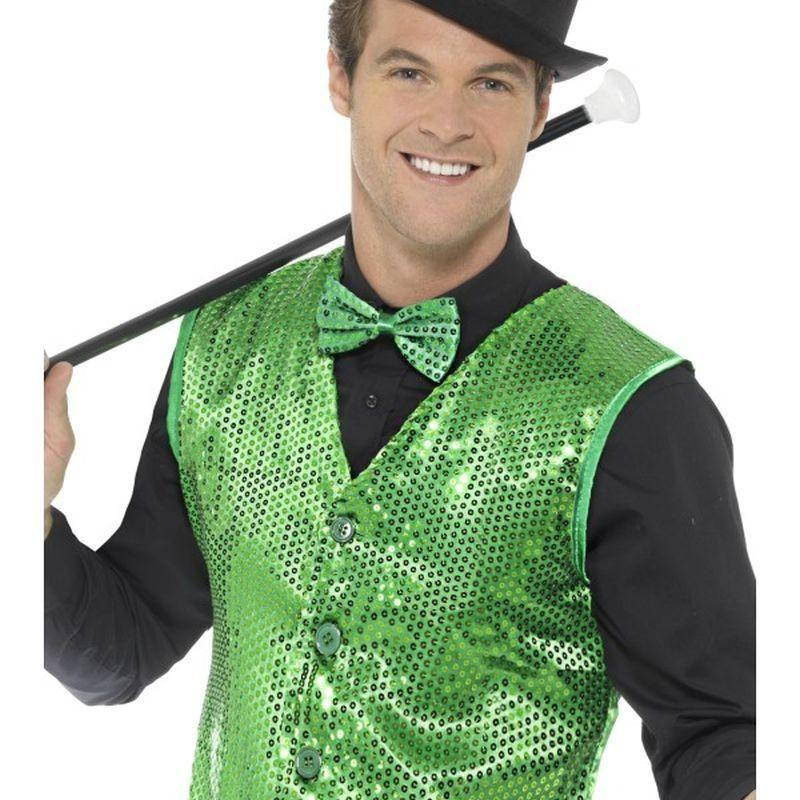 Sequin Waistcoat Adult Green - Party & Carnival Mad Fancy Dress