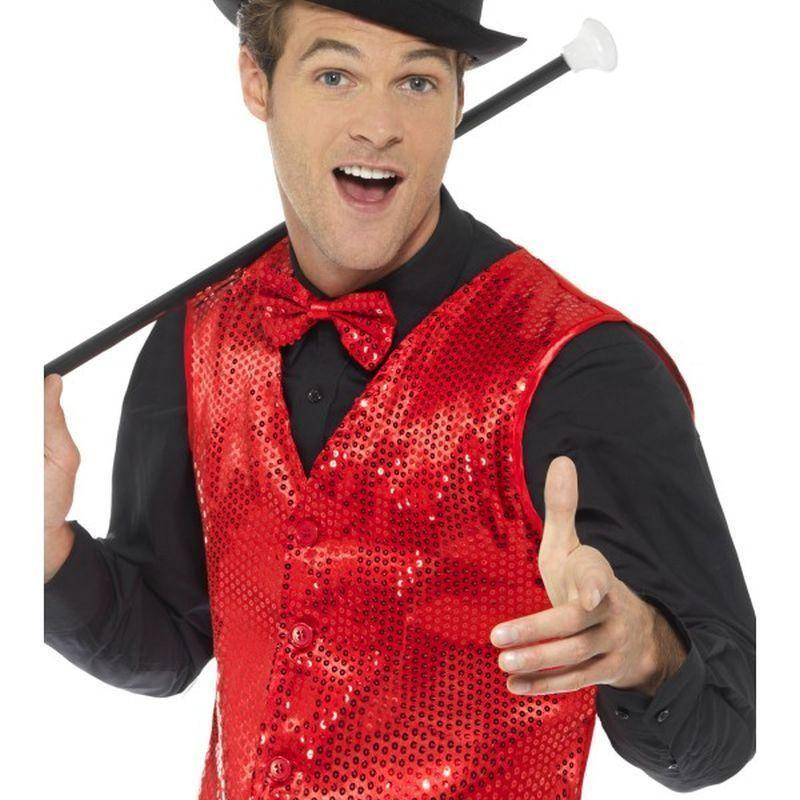Sequin Waistcoat Adult Red - Party & Carnival Mad Fancy Dress