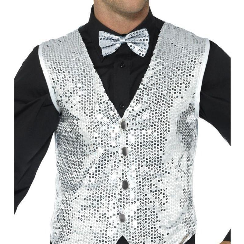 Sequin Waistcoat Adult Silver - Party & Carnival Mad Fancy Dress