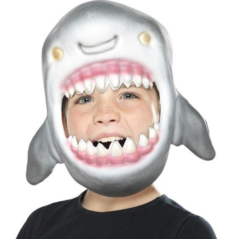 Shark Full Head Mask Kids Grey - Childrens Animal Costumes Mad Fancy Dress