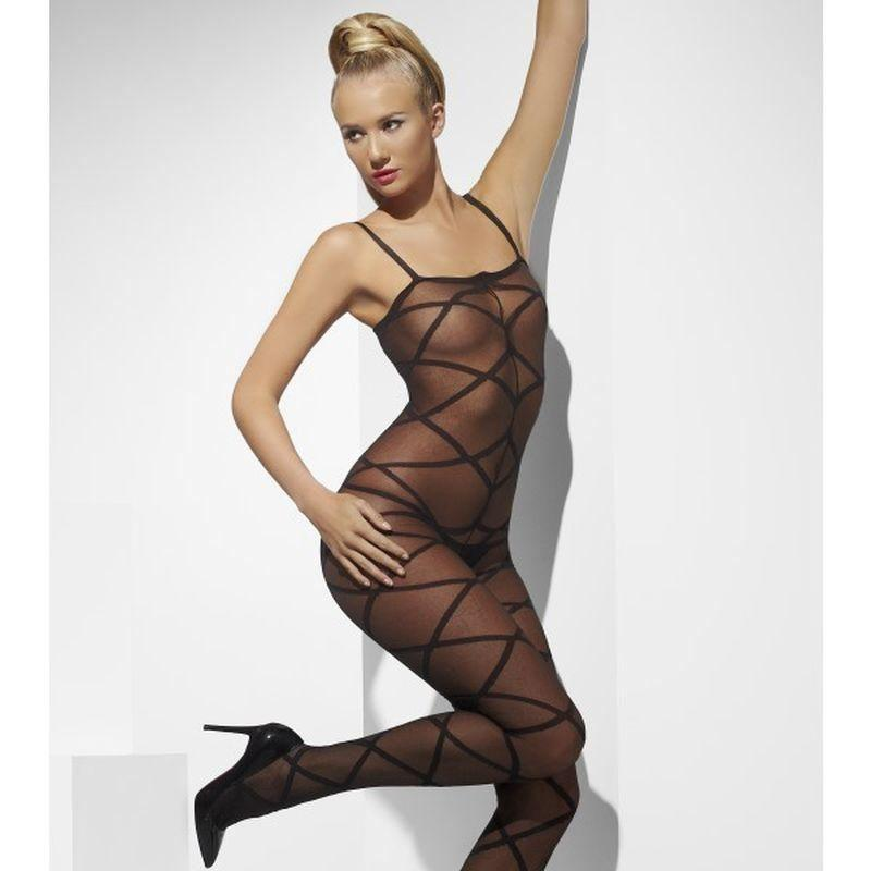 Sheer Body Stocking Adult Black - Fever Mad Fancy Dress