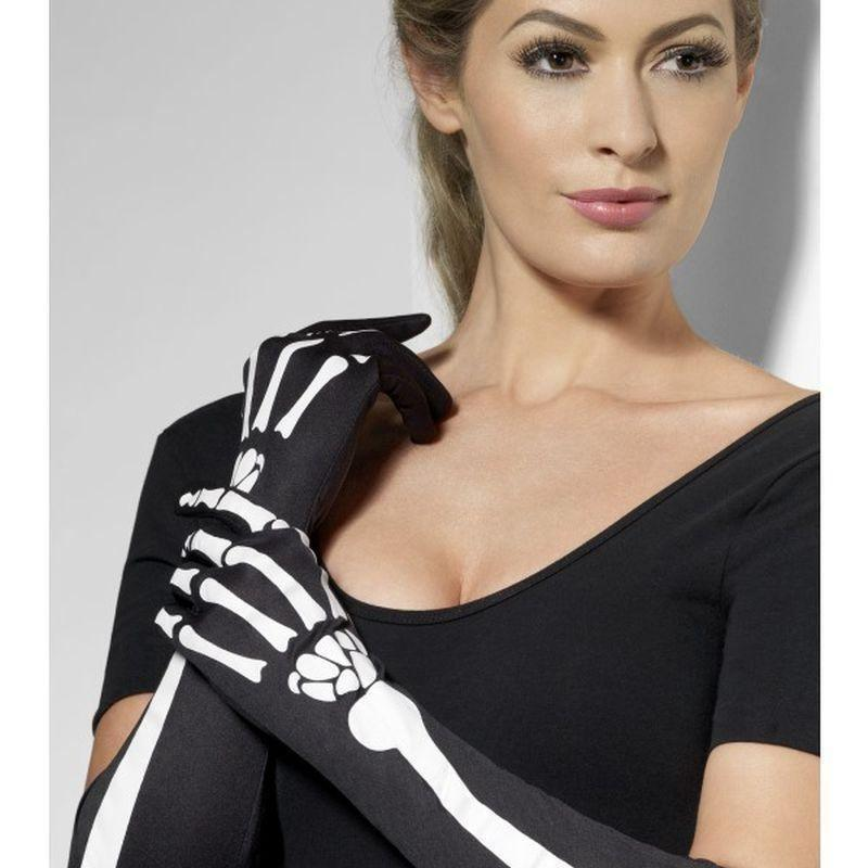 Skeleton Gloves Adult Black - Halloween Costumes & Accessories Mad Fancy Dress