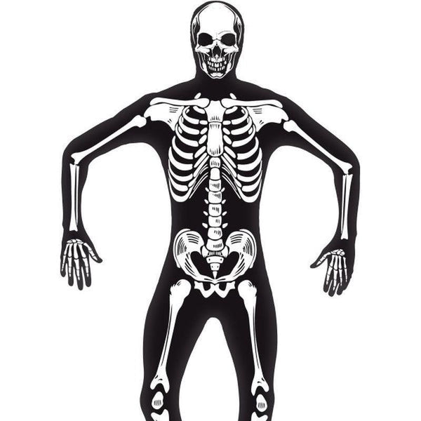 Skeleton Second Skin Costume Adult Black/white - Halloween Costumes & Accessories Mad Fancy Dress