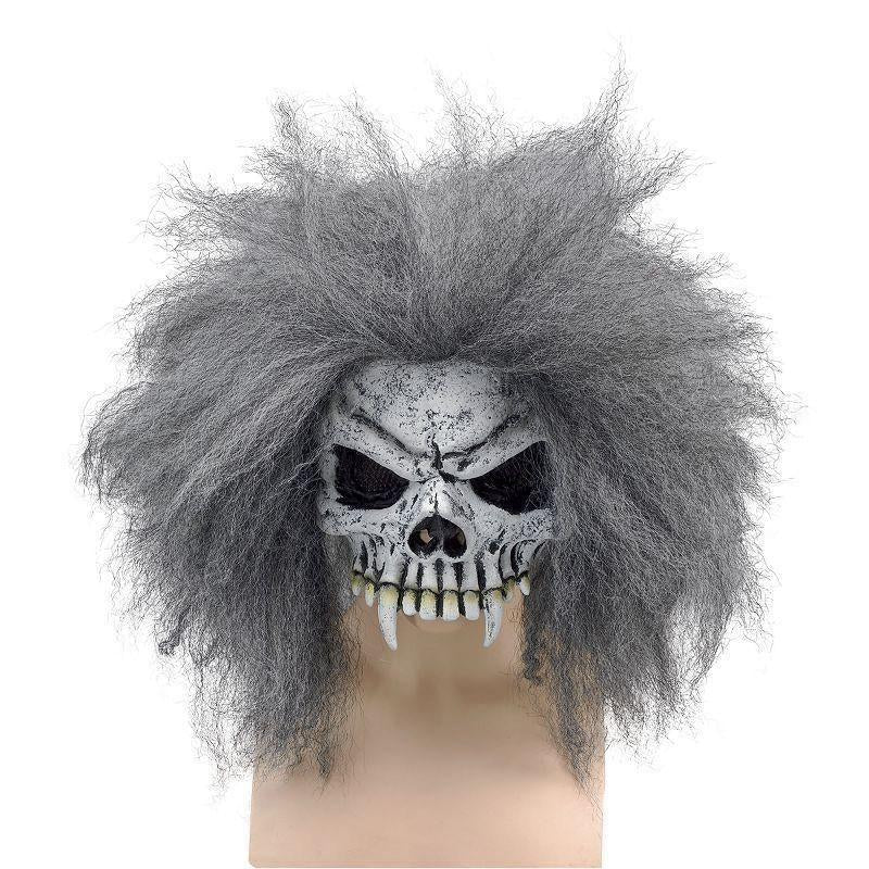Skull Half Face Mask + Hair |Rubber Masks| Unisex One Size - Masks Mad Fancy Dress