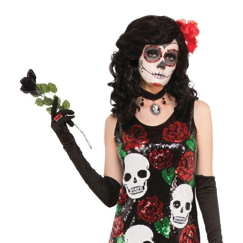 Skull + Roses Sequin Dress M/l |Adult Costumes| Uk Size 10 14 - Generic Ladies Costumes Mad Fancy Dress