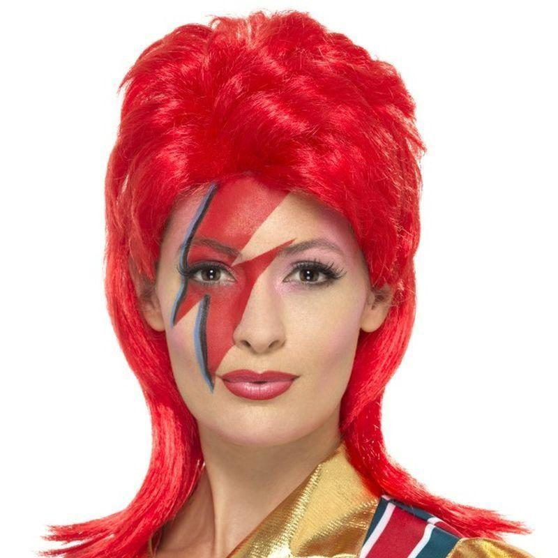 Space Superstar Wig Adult Red - 70S Disco Mad Fancy Dress