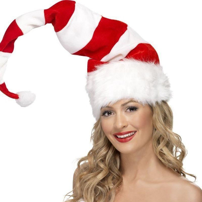 Striped Santa Hat Adult Red/whte - Christmas Costumes For Men Mad Fancy Dress