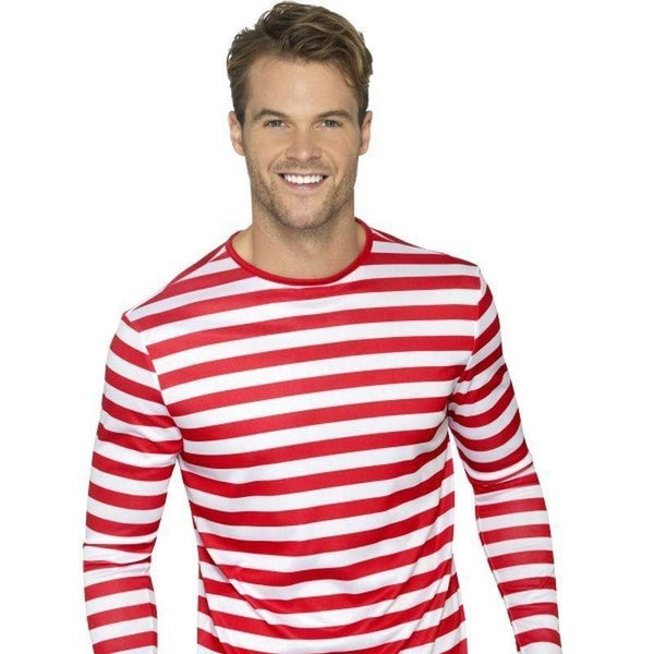 Stripy T Shirt Adult Red - Comedy & Clown Mad Fancy Dress