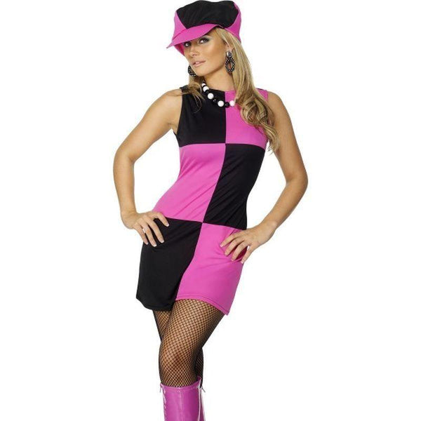 Swinging 60S Costume Adult Pink/black - 60S Groovy Mad Fancy Dress