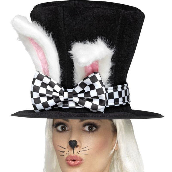 Tea Party March Hare Top Hat Adult Black/white - Faries Wings & Wands Mad Fancy Dress