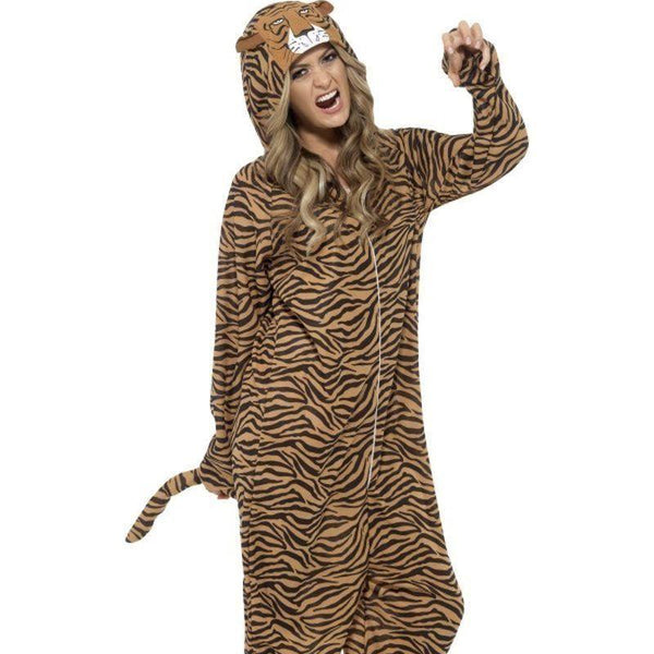 Tiger Costume Adult Orange/black - Adult Animal Mad Fancy Dress