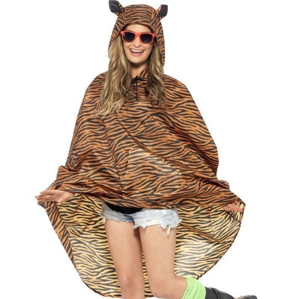 Tiger Party Poncho Adult Orange/black - Adult Animal Mad Fancy Dress