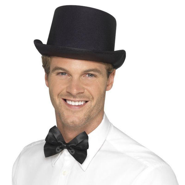 Top Hat Satin Look Adult Black - Historical Fancy Dress Mad Fancy Dress