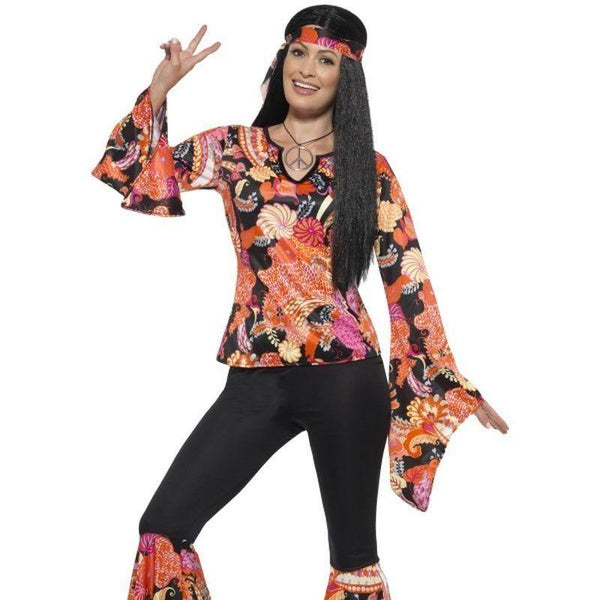 Willow The Hippie Costume Adult Black - 60S Groovy Mad Fancy Dress