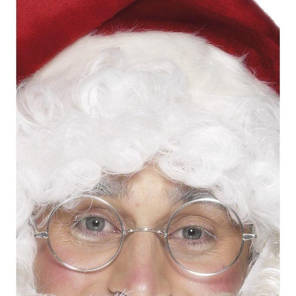 Wire Framed Santa Specs Adult Silver - Christmas Costumes For Men Mad Fancy Dress