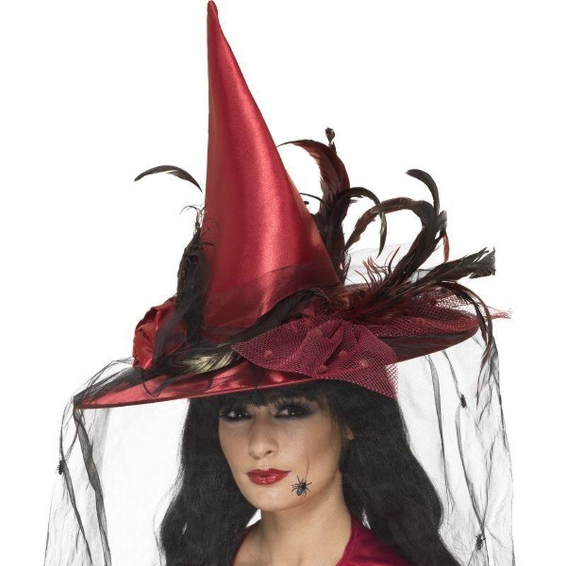 Witch Hat Adult Deep Red - Halloween Costumes & Accessories Mad Fancy Dress