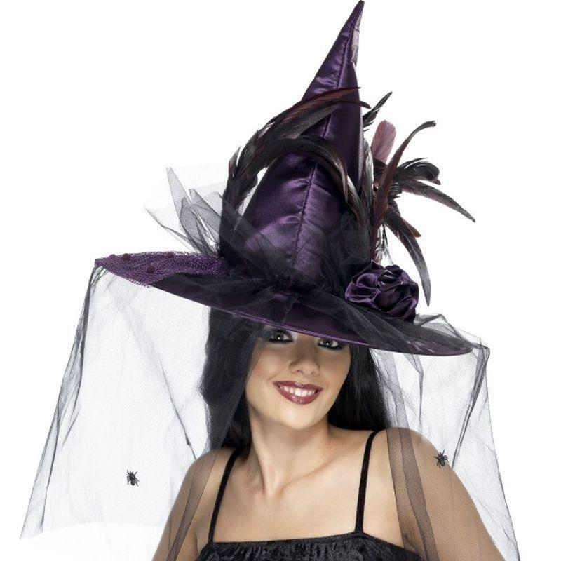 Witch Hat Adult Purple - Halloween Costumes & Accessories Mad Fancy Dress