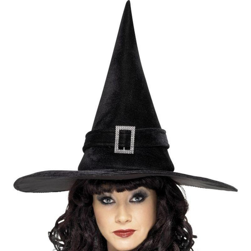Witch Hat With Diamante Buckle Adult Black - Halloween Costumes & Accessories Mad Fancy Dress