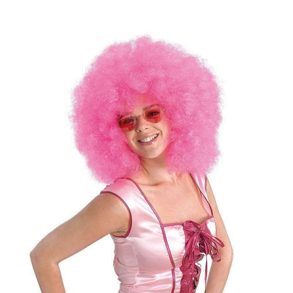 Womens Afro Wig Mega Pink |Wigs| Female One Size Halloween Costume - Ladies Wigs Mad Fancy Dress