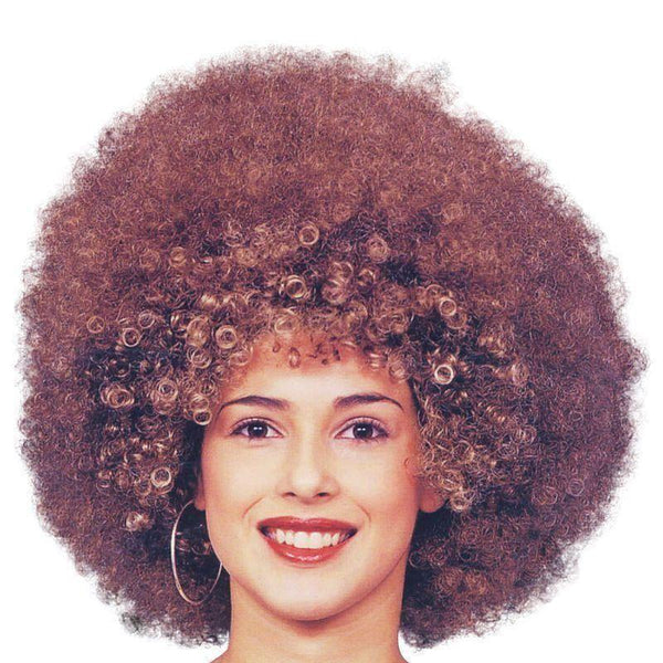 Womens Beyonce Afro Wig Brown |Wigs| Female One Size Halloween Costume - Ladies Wigs Mad Fancy Dress