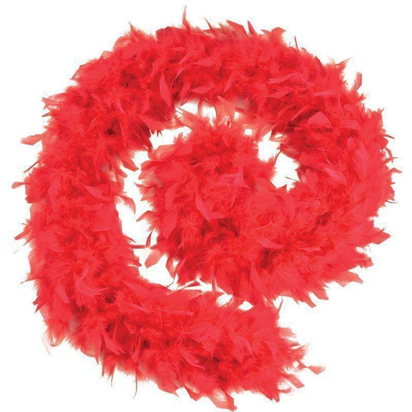 Womens Feather Boa 80G Red Budget |Costume Accessories| Female One Size Halloween Costume - Costume Accessories Mad Fancy Dress