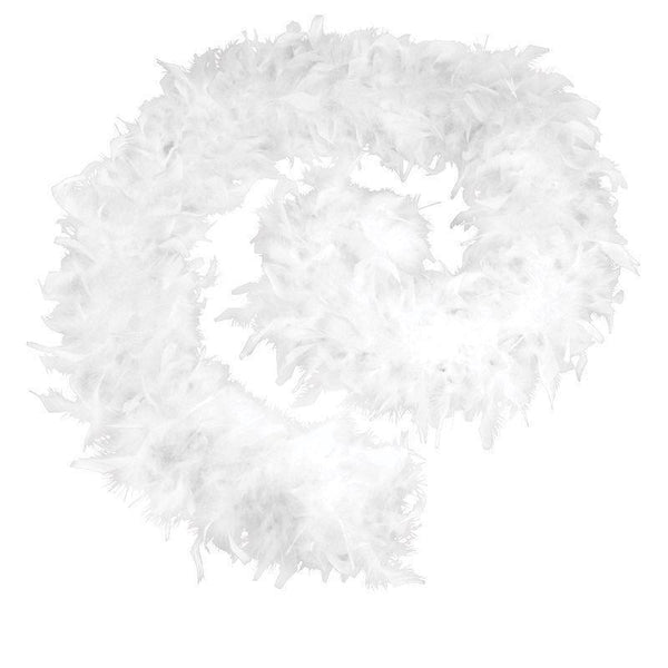 Womens Feather Boa 80G White Budget |Costume Accessories| Female One Size Halloween Costume - Costume Accessories Mad Fancy Dress