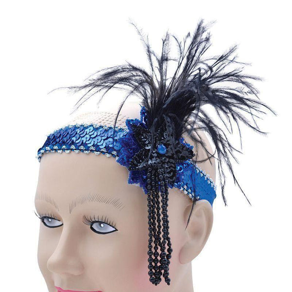 Womens Flapper Hband Blue Sequin Band Deluxe |Costume Accessories| Female One Size Halloween Costume - Costume Accessories Mad Fancy Dress