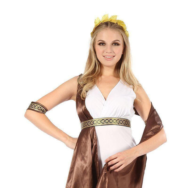Womens Goddess With Brown Sash| Adult Costumes| Female One Size Halloween Costume - Generic Ladies Costumes Mad Fancy Dress