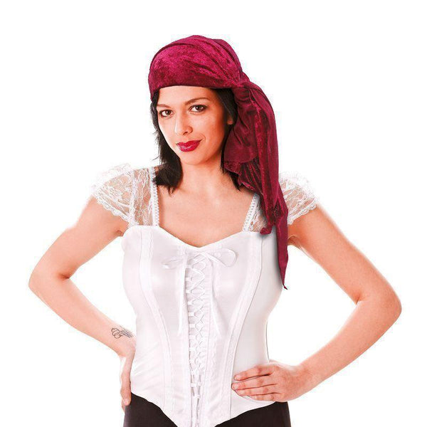 Womens Pirate Bandana Velvet Female |Costume Accessories| Female One Size Halloween Costume - Costume Accessories Mad Fancy Dress