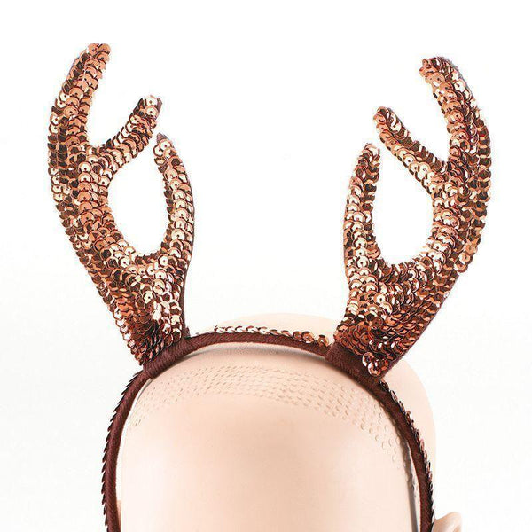 Womens Reindeer Horns Sequin |Costume Accessories| Female One Size Halloween Costume - Costume Accessories Mad Fancy Dress