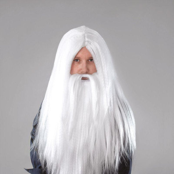 Womens Wizard Wig _ Beard Long White |Wigs| Male One Size Halloween Costume - Ladies Wigs Mad Fancy Dress