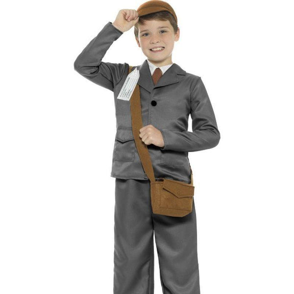 Ww2 Evacuee Boy Costume Kids Grey - Boys Costumes Mad Fancy Dress