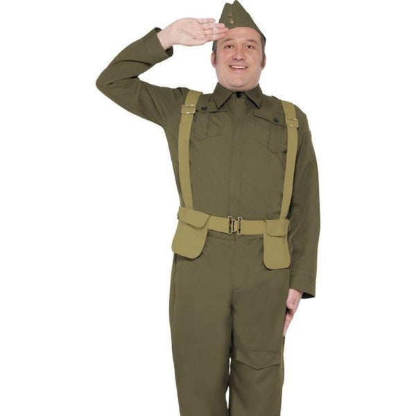 Ww2 Home Guard Private Costume Adult Green - 1940S Wartime Fancy Dress Mad Fancy Dress