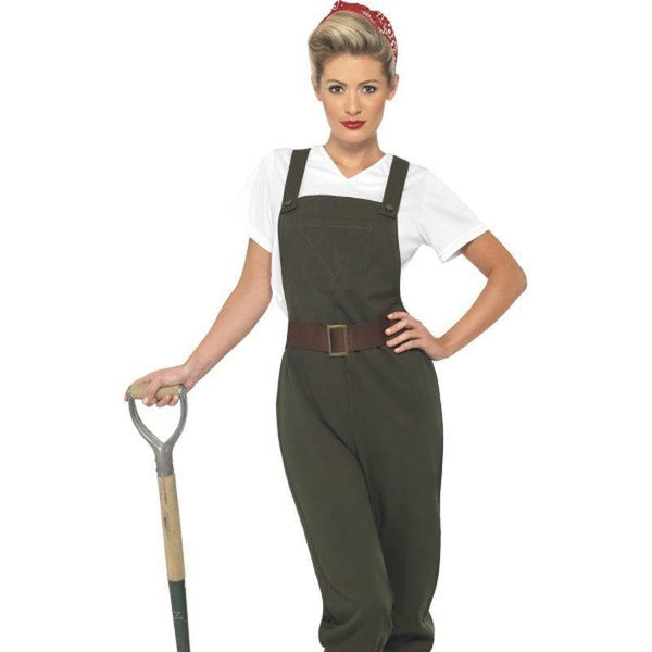 Ww2 Land Girl Costume Adult Olive/white - Land Sea & Air Forces Mad Fancy Dress