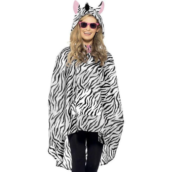 Zebra Party Poncho Adult White/black - Adult Animal Mad Fancy Dress