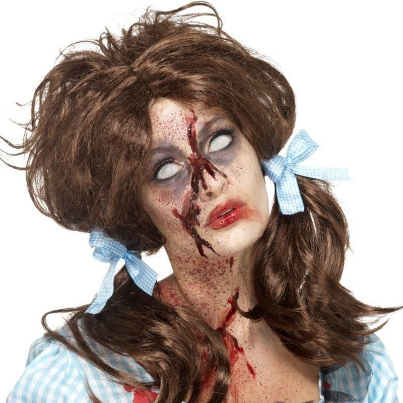 Zombie Bloody Country Girl Wig Adult Brown - Halloween Zombie Alley Kidz Mad Fancy Dress