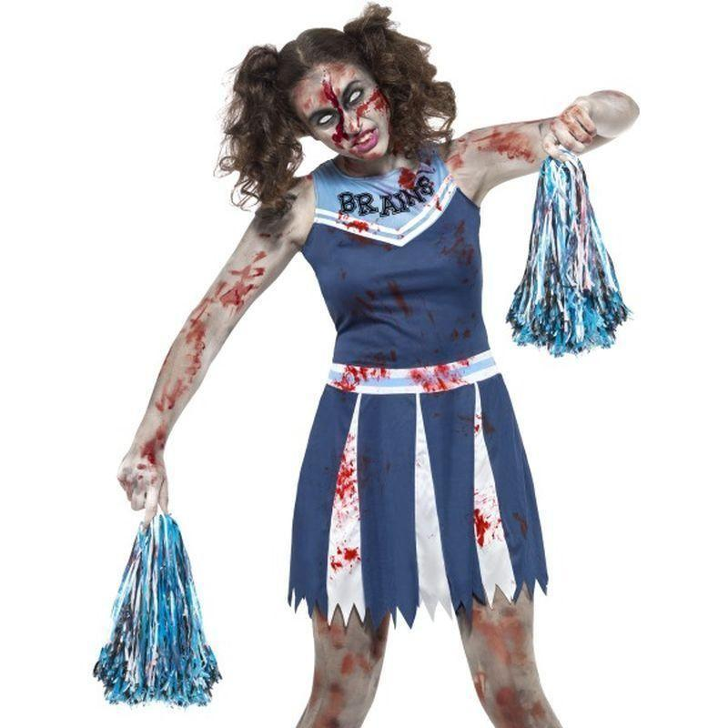 Zombie Cheerleader Costume Kids Blue - Halloween Costumes & Accessories Mad Fancy Dress