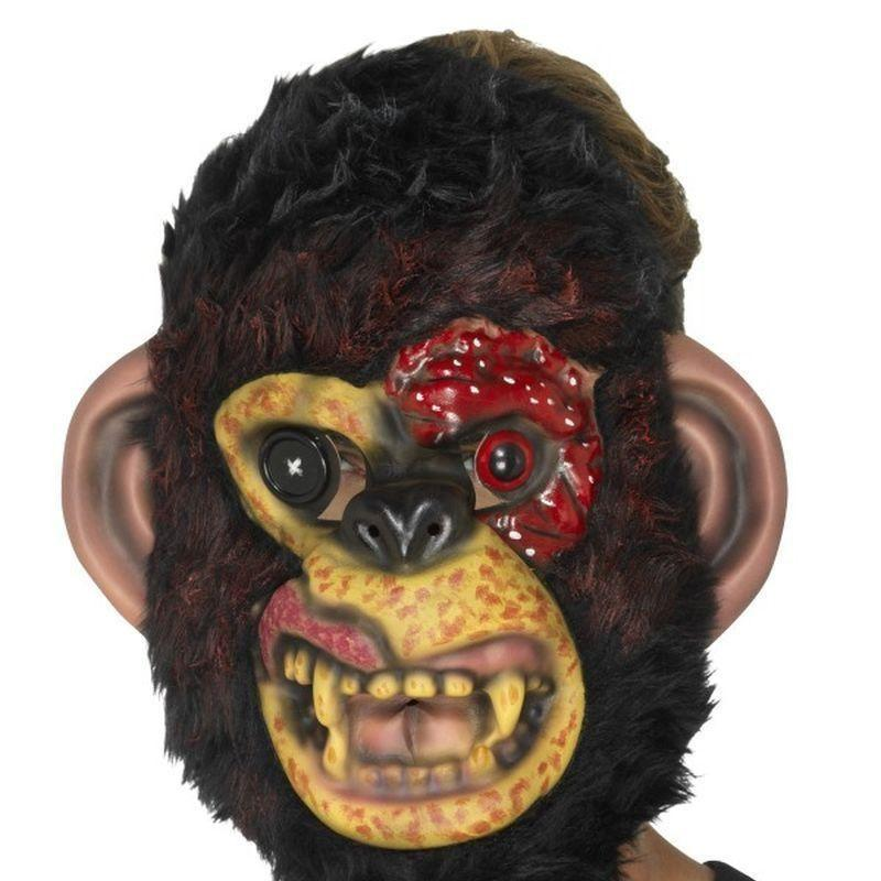 Zombie Chimp Mask Adult Black - Halloween Zombie Alley Kidz Mad Fancy Dress