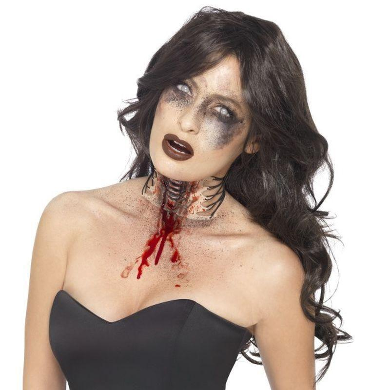 Zombie Exposed Throat Wound Adult Flesh - Halloween Zombie Alley Kidz Mad Fancy Dress