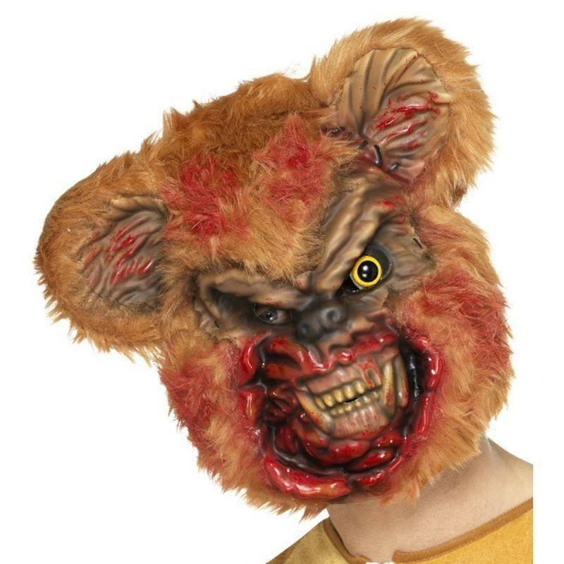 Zombie Teddy Bear Mask Adult Brown - Halloween Zombie Alley Kidz Mad Fancy Dress