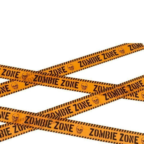 Zombie Zone Caution Tape Adult Orange/black - Halloween Costumes & Accessories Mad Fancy Dress