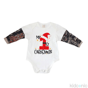 My First Christmas Tattoo Romper 0-3M / White
