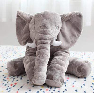 Oversized Baby Elephant Pillow Infant Grey