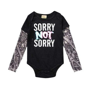 Sleeve Tattoo Print Baby Romper Bodysuits Sorry Not Sorry Black / 6-9M