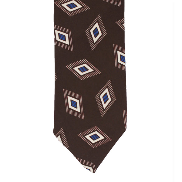 Rhombus Silk Tie - Brown