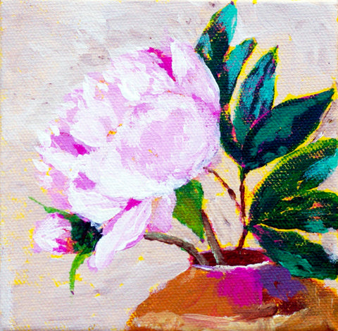 "SOLD - Original Painting - Peony in Vase - Acrylic in 5""x5"" Canvas"