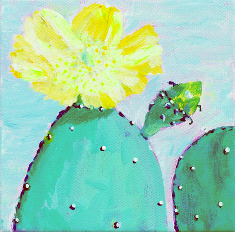 "Original Painting - Prickly Pear Bloom - Acrylic in 5""x5"" Canvas"