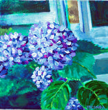 "Original Painting - Hydrangeas in Window - Acrylic in 8""x8"" Canvas"